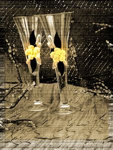 Free Sepia Champagne Glasses Greeting Card Stock Images - 16370704