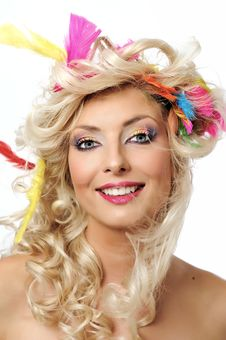 Free Blonde Girl With Feathers Stock Photography - 16371642