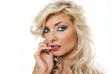 Free Blonde Girl With Colorfull Makeup Stock Images - 16371694