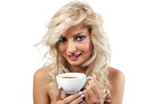 Free Blonde Girl With A Cup Of Coffee Royalty Free Stock Photography - 16371707