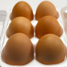 Free Six Brown Eggs In White Egg Box Royalty Free Stock Photography - 16372247