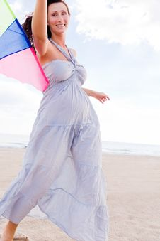 Kite Fly Woman Stock Photography