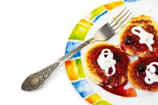 Cottage Cheese Pancakes On A Plate Stock Photography