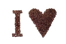 I Love  Sign Made Of Coffee Beans Stock Photo