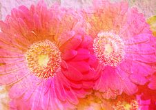 Vintage Stylized Floral Picture Stock Photo