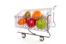 Colorful Fruits In A Cart Stock Photo