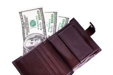 Free Banknotes Dollars In Leather Brown Purse Stock Photo - 16374080