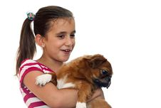 Free Beautiful Girl Holding A Small Pekingese Dog Royalty Free Stock Image - 16374396