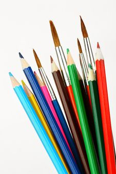 Colored Pencils And Brushes Stock Image