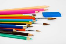 Colored Pencils And Brushes Royalty Free Stock Photography