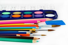 Free Watercolors And Brushes Royalty Free Stock Photo - 16375015