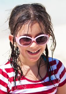 Free Girl With Sunglasses At The Beach Stock Image - 16375241