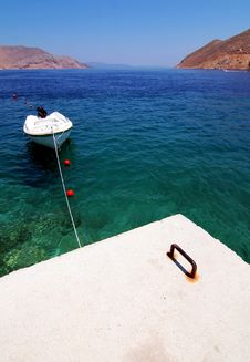 Boat In Bay Of Symi Island Stock Photos