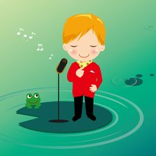 Free Singing Boy On Waterlily Royalty Free Stock Photography - 16376567