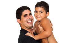 Free A  Young Father Carrying His Son On A White Backgr Stock Photos - 16377003