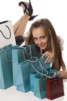 Free Woman Admiring Her Shopping Royalty Free Stock Photos - 16377278