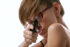 Free Woman In Red Glasses Taking Aim From A Gun Stock Image - 16377281