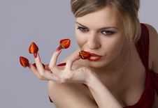 Free Woman With Red Strawberries Picked On Fingertips Royalty Free Stock Images - 16377299