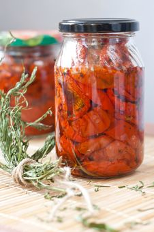 Free Dried Tomatoes In The Jar Royalty Free Stock Photos - 16378778