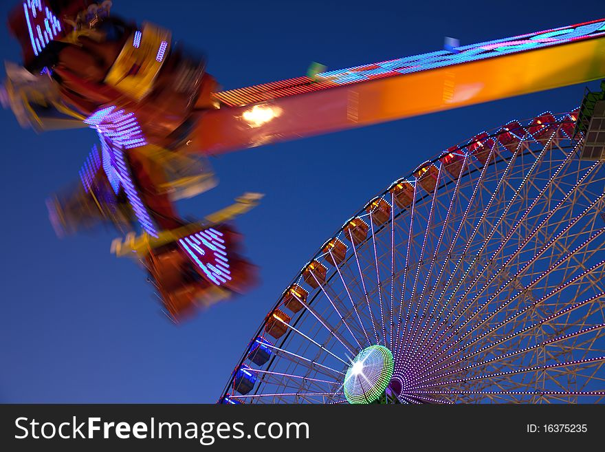 Ferris wheel and carnival ride