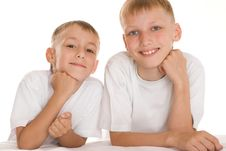 Free Two Brothers On A White Royalty Free Stock Image - 16383036