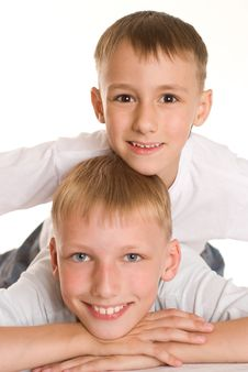 Free Two Brothers  On A White Stock Photo - 16383060