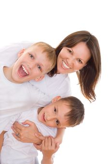 Young Mother With Children Stock Image
