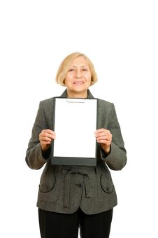 Senior Woman Holding A Clipboard Royalty Free Stock Photo