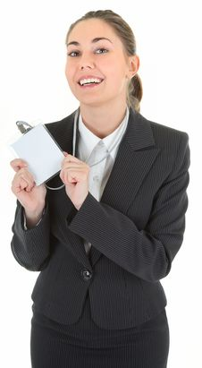 Business Woman With Blank Payment Card Stock Photo