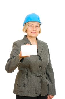 Free Woman With Blue Hard Hat Stock Photo - 16383740