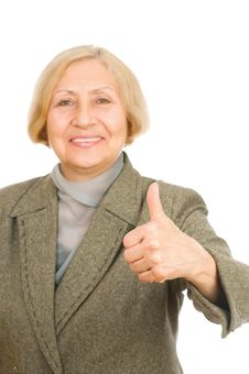 Senior Woman Showing Thumb Up Royalty Free Stock Images