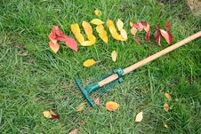 Free Fallen Red And Yellow Leafs Making Word Autumn Stock Photography - 16383982