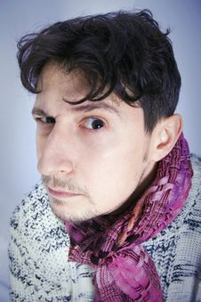 Free Dishevelled Young Man With Scarf Royalty Free Stock Image - 16384596