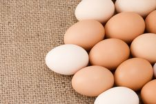Free Eggs On Sacking Royalty Free Stock Photography - 16384857