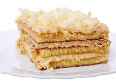 Free Piece Of Cake With Cream Stock Image - 16385011