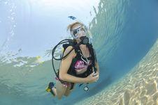 Adult Female Scuba Diver In Bikini Stock Photography