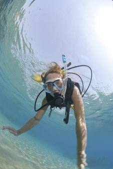 Adult Female Scuba Diver In Bikini Royalty Free Stock Photo