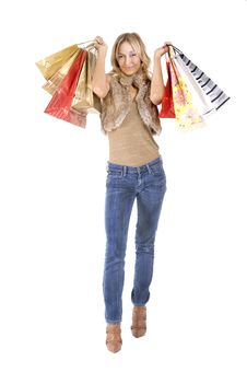 Free Sexy Blond Woman With Shopping Bags Stock Photos - 16385473