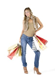 Free Sexy Blond Woman With Shopping Bags Royalty Free Stock Photos - 16385478