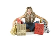 Free Sexy Blond Woman With Shopping Bags Royalty Free Stock Photography - 16385497
