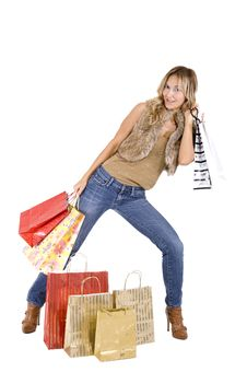 Free Sexy Blond Woman With Shopping Bags Royalty Free Stock Image - 16385536