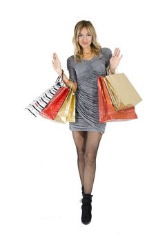 Free Sexy Blond Woman With Shopping Bags Stock Photos - 16385843