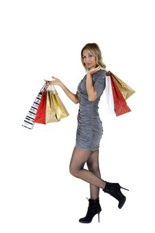 Free Sexy Blond Woman With Shopping Bags Stock Images - 16385854