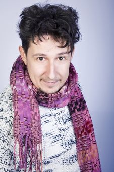 Dishevelled Young Man With Scarf Stock Image