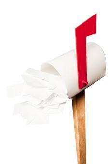 Full Mailbox Isolated On White Background Royalty Free Stock Photos