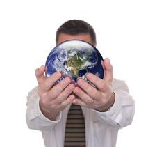 Free Businessman Holds Globe Featuring America Royalty Free Stock Image - 16386656