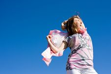 Free Happy Brunette Playing With A Scarf In The Summer Stock Image - 16388011