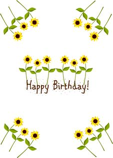 Free Birthday Card With Sunflowers Royalty Free Stock Photo - 16388045