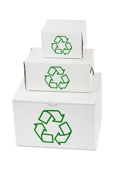 Stack Of Boxes With Recycling Sign Stock Photos