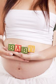 Free Pregnant Blocks Baby Royalty Free Stock Image - 16391856